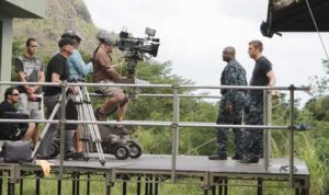 """On the set of Shawn Ryan's newest TV show, """"Last Resort,"""" starring Andre Braugher and Scott Speedman. It will debut this fall on ABC.  (Photo courtesy of ABC)"""