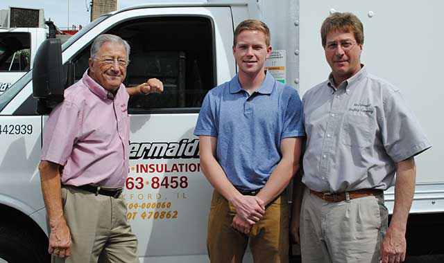 Bill Naretta, Nick Naretta and Paul Naretta, of family-owned McDermaid Roofing & Insulating Co., in Rockford. Their business recently completed work on Illinois Tollway facilities. (Chris Linden photo)