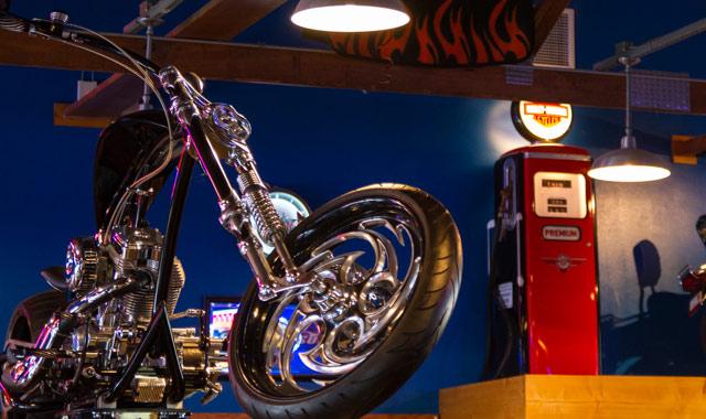 Poopy's Pub 'n' Grub is a family-friendly biker hangout.
