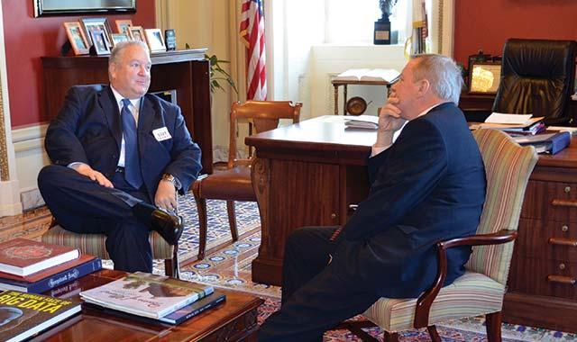 Dunn in conversation with Illinois Sen. Dick Durbin.