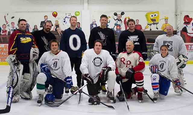 Friends often gather for a pick-up game of hockey at the ice house. Back Row: Craig Pruka, Adam Tobias, Nick Toneys, Jay Graham, Jon Severson, Carson Davies. Front Row: Reno Murphy, Josh McCardle, David Casalena, Jordan Stewart. (Samantha Ryan photo)