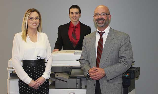 The Des Plaines Office Equipment Co. team in Loves Park (L-R): Denae Struse, Sam Heibel and David Achilli.
