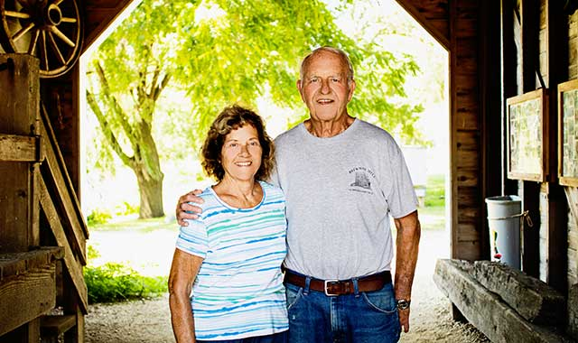 Sheri and Jim Disrud are longtime members of the Friends of Beckman Mill, a group of dedicated volunteers that restored the historic mill, which has stood along Raccoon Creek for 150 years.