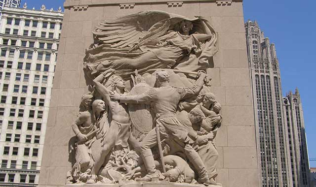 In, 1812 Potawatomi Indians destroy Fort Dearborn, killing 52 troops and civilians.