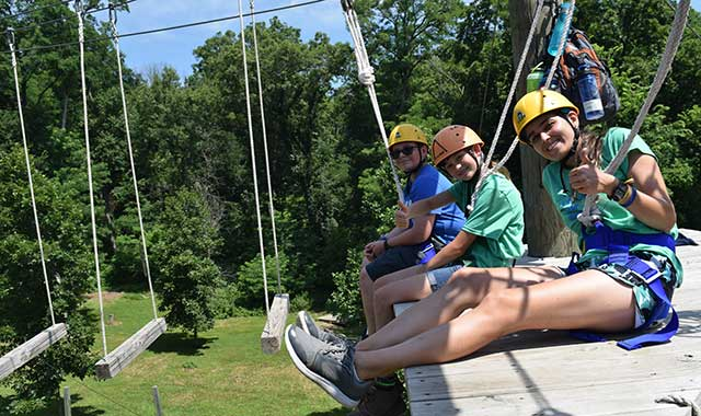 The high ropes course is a popular element of camp at Stronghold. With platforms 30 feet above the ground, the course takes participants out of their comfort zone.
