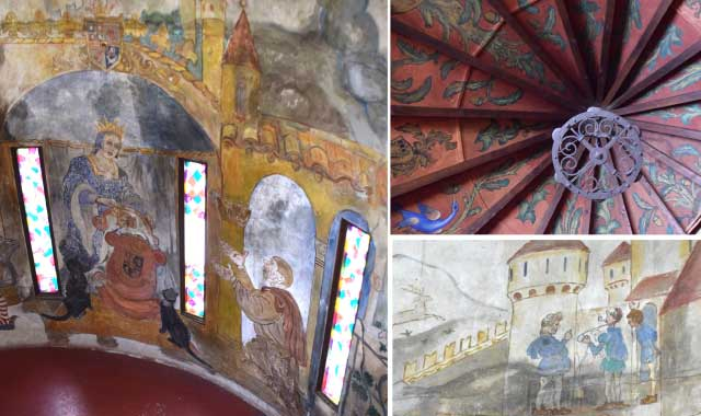 The tale of Rumpelstiltskin adorns the walls of the castle tower. Russian artist Nicholas Kaissakoff painted the library ceiling in a mock-medieval style and included himself, Mrs. Strong and architect Maurice Webster in the fresco on the walls.