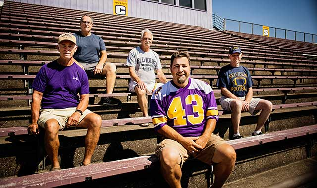 Former Belvidere coaches recently gathered at Funderburg Stadium, at Belvidere High School: (Left to Right) Curt Tobin, Tom Sternquist, Darwin Whitehead, Jon Maxwell (manager) and Chuck Larson.