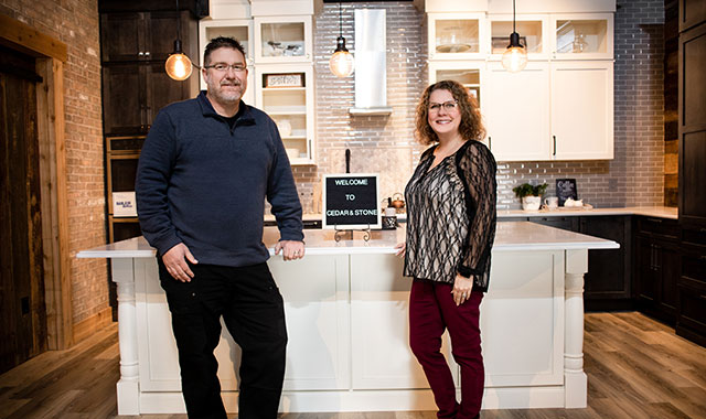 Tony and Cassie Bonnet opened the Cedar & Stone Cabinetry and Flooring showroom in Machesney Park, Ill., to show off some of the possibilities for clients who want to improve their home. The showroom includes numerous vignettes and design ideas. (Samantha Behling photos)